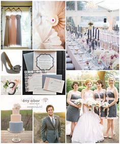 Gray and Pink Wedding - do not like the cake. Love the table setup and invitations
