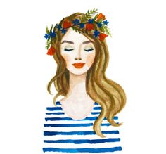 Print of Blue Flower crown girl watercolor painting. Coral lips, stripes, flowers. Fashion illustration lady, beauty, glamour, original art by KristineBrookshire on Etsy https://www.etsy.com/listing/243352839/print-of-blue-flower-crown-girl