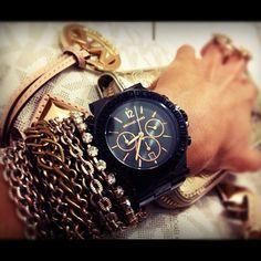 black MK watch + chain bracelets