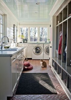 Mud room + laundry room + cubbies = the ultimate utility room! Love have light and aired it is Mud room + laundry room + cubbies = the ultimate utility room! Love have light and aired it is Mudroom Laundry Room, Farmhouse Laundry Room, Laundry Room Design, Laundry Sorter, Laundry Area, Laundry Baskets, Bathroom Laundry, Laundry Shoot, Laundry Craft Rooms