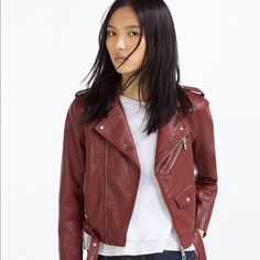 Zara Burgundy Faux Leather Jacket With Buckle Olivia Palermo, Alexa Chung, Kate Moss Favorite Style  Limited Edition!!  Product detail: • Ref#: 3046/023  • Color: burgundy • Size: XS/ S/ M/ L • Outer Shell: Base Fabric - 88% Viscose, 12% Polyester,  Coating: 100% Polyurethane,  Lining: 100% Polyester • Zipper • Adjustable buckle • 100% BRAND NEW & AUTHENTIC WITH TAG Zara Jackets & Coats