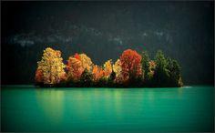 Autumn island, Brienzersee, Switzerland