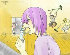 Anime/manga: Kuroko no Basuke and SNK Characters: Kuroko, Murasakibara, Aomine, Kise, and Akashi? Me Anime, Anime Meme, Otaku Anime, Manga Anime, Anime Art, Kuroko No Basket, Haikyuu, Kurokos Basketball, Aomine Kuroko