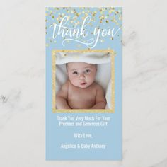Blue Gold THANK YOU Baby Shower BOY | PHOTO Thank You Greeting Cards, Baby Shower Thank You Cards, Custom Thank You Cards, Thank You Note Cards, Custom Cards, Baby Cards, Baby Boy Shower, Baby Shower Gifts, Baby Gifts