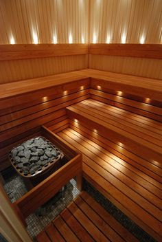 Good sauna designs and plans make your sauna project perfect. When you decide to design your own sauna, it is important to consider several factors. Heaters are the heart and soul of any sauna. Portable Steam Sauna, Sauna Steam Room, Sauna Room, Basement Sauna, Saunas, Homemade Sauna, Sauna Lights, Indoor Sauna, Sauna House