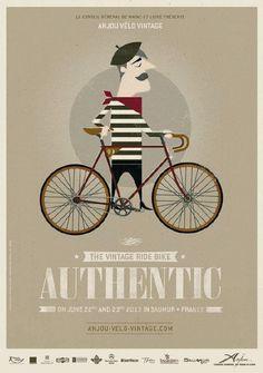 illustration française : affiche, Anjou Vélo Vintage 2013. bicyclette, gris pâle