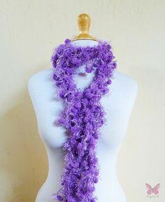 GRAPE PURPLE FrillyPom  pom pom scarf  by OriginalDesignsByAR, $12.95