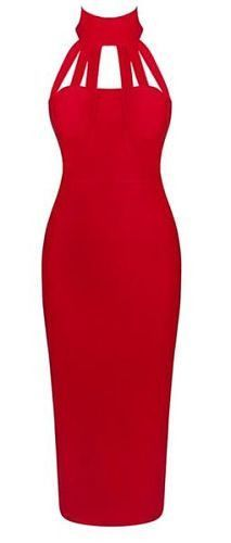 sexy, elegant, body-con fit, dress length below knee, back zipper, high neck, open back, back split, sexy neckline Material- 90% rayon /9% nylon/ 1% spandex Color - Red (more colors) Size - X-Small, S