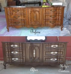 French Provincial dresser painted dark brown with silver hardware before and after pictures.  Refinished by Kelly's Creations.https://www.facebook.com/KellysCreationsFurniture