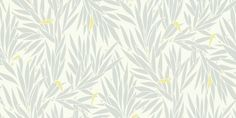 Lauren (110196) - Harlequin Wallpapers - A stunning design with bushes of leafs simplified - showing in grey with a hint of yellow on off white. other colour ways available. Please request a sample for true match. Paste-the-wall product.