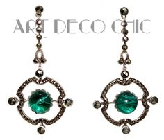 Art Deco German Sterling Silver Wilhelm Becker Emerald Cab & Marcasite Earrings #WilhelmBecker #Pendant