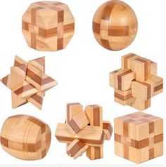 Bamboo 3D Puzzles Eco-Friendly IQ Brain Teaser 7 pieces/lot