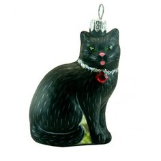 Glass ornament - a cat. Glass Christmas Ornaments, The Incredibles, Hand Painted, Holiday Decor, Polish, Painting, Black, Enamel, Black People