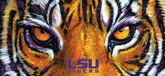LSU Tiger Eyes by local artist Tony Bernard Lsu Tigers Football, Lsu Mascot, Saints Football, Football Baby, Football Season, College Football, Baseball, Tiger Painting, Louisiana State University