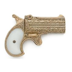 1866 Double Barrel Derringer - Designed by William Elliot, this famous .41 caliber, two-shot, single-action derringer was manufactured for over forty years. The hinged barrel of this replica gun swings upward for easy reloading. This Old West collectible has engraved barrels and faux pearl plastic grips.