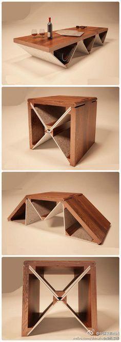 [会撒谎的变形金刚茶几] smart furniture table chair and coffe table. Мебель трансформер: стол и стульчик в одном.