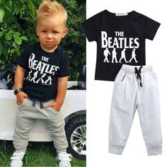 2pcs Baby Boy Kids Short Sleeve T-shirt Tops +Pants Outfit Clothing Set Suit #Unbranded #Everyday
