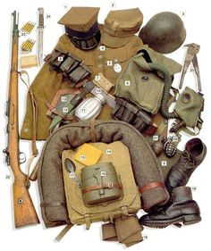 Esercito Polacco - Polish infantry private, WWII 1 garrison cap 2 field cap 3 steel helmet  4 jacket 5 dog tag  6 gas mask/tarpaulin bag  7 personal dressing  8 leather ammo pouches  9 breadbag  10 leather belt  11 canteen  12 bayonet cover  13 folding shovel/leather cover  14 backpack w/blanket  15 army biscuit  16 mess kit 17 spoon/fork  18 cloth used as socks  19 boots 20 GR-31 grenade- frag 21 GR-31 greande- concussion  22 7.92 mm Mauser 1898a rifle 23 ammo clips 24 bayonet  25 wire…