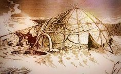 Dwelling at Kostenki 1 which was constructed with mammoth bones and tusks and stretched hide