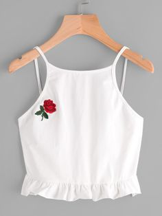 Shop Rose Embroidered Frill Hem Cami Top at ROMWE, discover more fashion styles online. Teen Fashion Outfits, Trendy Outfits, Girl Fashion, Cool Outfits, Cami Tops, Ladies Dress Design, Cute Shirts, Look Cool, Diy Clothes