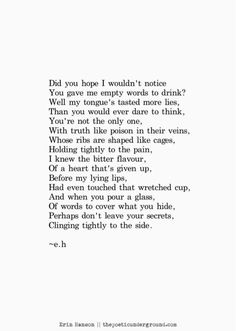 empty words to drink