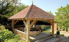 Pavilion shelters and rustic on pinterest for Hot tub shelter plans