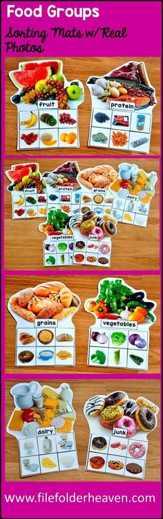 These Food Groups Sorting Mats With Real Photos include 6 unique sorting mats that focus on identify Preschool Learning, Learning Activities, Activities For Kids, Teaching, Preschool Food, Down Syndrom, Nutrition Activities, Nutrition Education, Food Pyramid