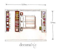Un dormitorio con vestidor y zona de trabajo | Decoratrix | Decoración, diseño e interiorismo