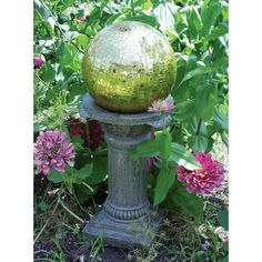 """Florentine Globe Pedestal - Natural Stone Durable & weather resistant, pedestal will look great in outdoor space for seasons to come. For use w/ 10"""" & 12"""" gazing globes. Features: Ready to Use Not Included: Gazing Ball Finish: Natural Protective Qualities: Weather Resistant Safety and Security Features: Non-Toxic Paint Polystone Care & Cleaning: Wipe Clean With Soap and Water  10.5 """" L x 10.5 """" W x 16.75 """" H"""