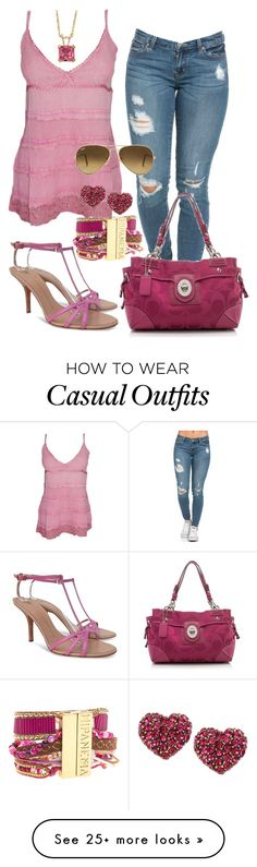 """Casual"" by alice-fortuna on Polyvore featuring Giuseppe Zanotti, Coach, Hipanema, Betsey Johnson, Palm Beach Jewelry and Ray-Ban"