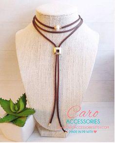 Collar choker marron.Black choker. Freshwater by CaroAccessories