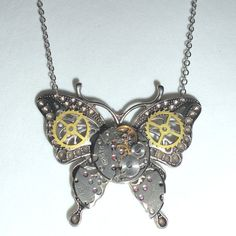 Funky Steampunk Clock Parts Butterfly by TreasureFoundToShare
