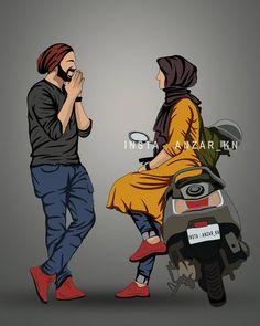 Love Cartoon Couple, Cute Cartoon Pictures, Cute Couple Art, Cute Love Cartoons, Baby Cartoon Drawing, Cute Girl Drawing, Cartoon Boy, Cute Muslim Couples, Cute Couples Kissing