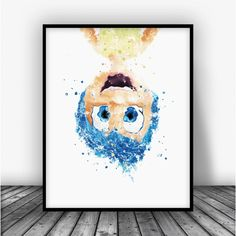 Inside Out Joy Watercolor Art Print Poster. Disney Art For Home Decoration, Nursery and Kids Room Decor.