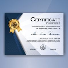 Certificate psd templates certificate and template blue and white elegant certificate of achievement template background free vector altavistaventures Image collections
