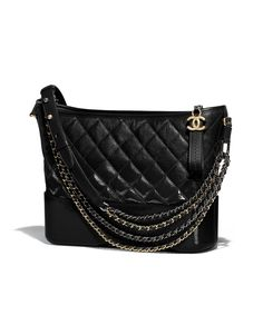 CHANEL'sGABRIELLE hobo bag, goatskin, patent goatskin, silver-tone & gold-tone metal-black - CHANEL