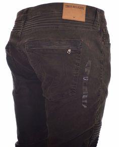 True Religion Mens Jeans Size 40 Geno Slim Moto in Muse DK Brown NWT $298 #TrueReligion #SlimSkinny