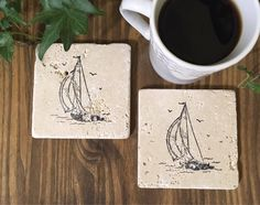 A personal favorite from my Etsy shop https://www.etsy.com/ca/listing/225970393/sailboat-natural-stone-coasters