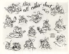 Vintage Disney Alice in Wonderland: Animation Model Sheet 350-8002 - Ruff Rabbit