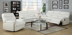 3 Piece White Recliner Leather Sofa Set
