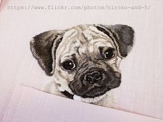 hand embroidered Pug dog in the pocket on the pink от ShopGoGo5
