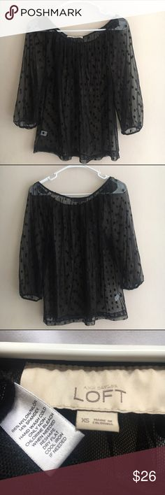 LOFT Sheer dot print black net top size XS Versatile, comfy, chic blouse by LOFT! Size XS, but flowy. Totally sheer, with a black dot print on black net fabric. Long sleeves (that are just short of the wrist), and a stretchy scoop neck. Preloved. Comes from a smoke-free, pet-free home. LOFT Tops Blouses
