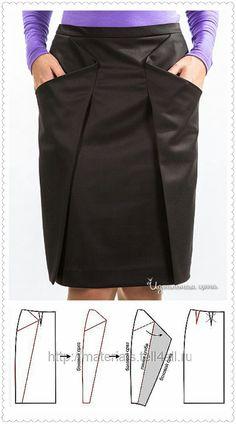 Una falda con corte simétrico es un buen proyecto. #Singer #Skirt #Black #Clothes #Sew #DIY