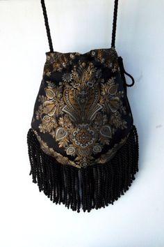 Fringed Tapestry Gypsy Bag Black and Gold Cross Body Bag Bohemian  Indie bag renaissance bag