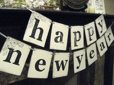 New Year Banner HAPPY NEW YEAR Decoration. $20.00, via Etsy.