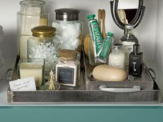 Corral toiletries in easy-to-tote trays so that you can move neccessities from closet to bathroom with grace. #tips