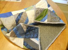 Patchwork gray blue cream cotton and minky by HomemakersHelper, $39.99