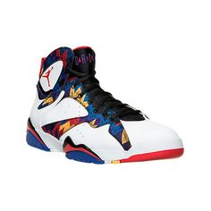 Nike Men's Air Jordan Retro 7 Basketball Shoes ($190) ❤ liked on Polyvore featuring men's fashion, men's shoes, men's athletic shoes, mens red leather shoes, mens leopard print shoes, mens white basketball shoes and mens lightweight running shoes