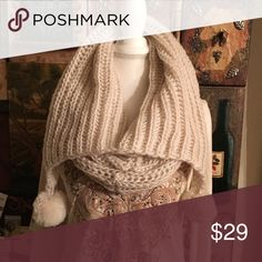 Chunky Knit Infinity Scarf with Pom Poms. Chunky Knit Infinity Scarf with Pom Poms. Can be pulled up an use the upper portion as a hood. Supper soft. One size fits all. Accessories Scarves & Wraps