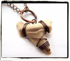 014 Shark Tooth Fossil Wire Antique Copper Wrapped Copper Pendant no Chain on eBay!